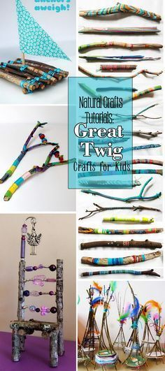 Woodworking For Kids Natural Crafts Tutorials · Great Twig Crafts for Kids! Kids Crafts, Twig Crafts, Nature Crafts, Summer Crafts, Projects For Kids, Art Projects, Arts And Crafts, Garden Projects, Camping Crafts For Kids