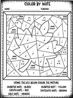 Autumn Rhythms Color by Note by Rocky Mountain Music Music Education Lessons, Elementary Music Lessons, Music Lessons For Kids, General Music Classroom, Music Activities For Kids, Mountain Music, Music Worksheets, Primary Music, Piano Teaching