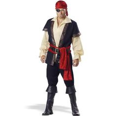 Take over the seas in this Pirate Elite Collection for Adults. Costume includes a gauze shirt, embossed vinyl trimmed vest, black faux leather boot tops, a sash, a scarf/bandana, an earring, eye patch