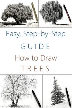 Tree Pencil Sketch, Tree Sketches, Pencil Art Drawings, Realistic Drawings, Drawing Sketches, How To Draw Realistic, Beginner Drawing Lessons, Drawing Tutorials For Beginners, Drawing Techniques