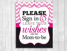 Please Sign in & Leave Wishes 8x10 Printable Baby Shower Guest Book Sign - Hot Pink Chevron and Black and White Polka Dots by WeddingsBySusan, www.weddingsbysusan.etsy.com #babyshower #hotpink #blackhotpink #printable