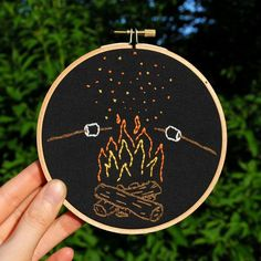 'Tis the season for toasting marshmallows. #Campfire #embroidery #hoopart