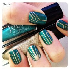 Glam Art Deco nails. #manicure #beauty #zappos love for an accent nail