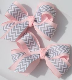 Light Pink and Grey Chevron Large Boutique by ribbonsbowseverygoes, $9.99