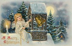 A MERRY CHRISTMAS angel sits atop snowy roof and rings bell, candle to her right - TuckDB Postcards