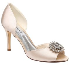 Jiame Women Pumps Rhinestone Brooch Peep Toe Sexy High Heels Satin Wedding Party Dress Shoes 85BMUSAsia 40 Champagne ** Learn more by visiting the image link.-It is an affiliate link to Amazon.