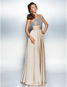 Homecoming Prom/Military Ball/Formal Evening Dress - Champagne Plus Sizes Sheath/Column One Shoulder Floor-length Satin Chiffon – USD $ 89.99
