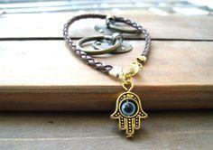 Brown string leather kabbalah bracelet evil eye, Kabbalah Madonna hamsa. $5.00, via Etsy.