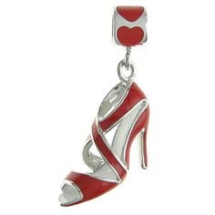 Rhodiumplated Sterling Silver Red High Heel Shoe Enamel European Style Dangle Bead Charm *** You can find more details by visiting the image link.