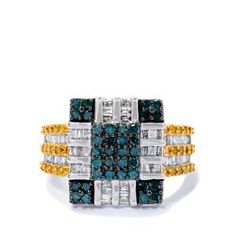 White Diamond Ring with Blue Diamond in 9k White Gold 1ct
