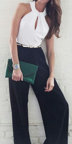Brilliant White Blouse with Black Charming Pants, Green Clutch Bag and Accessories, Love It