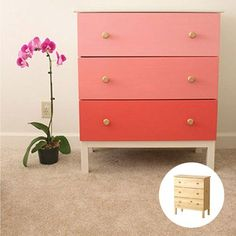 10 Awesome and Easy Ikea Hacks - Just how gorgeous is this DIY ombr� chest of drawers made from an IKEA TARVA dresser and a few coats of paint.