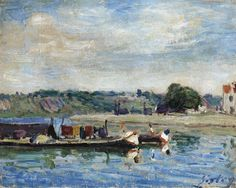 Alfred Sisley - Bord du loing a Saint-Mammes, 1885, oil on canvas
