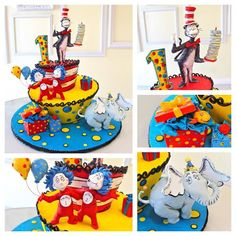 cat in the hat cake, Dr Seuss Little Boy Cakes, Cakes For Boys, Dr Seuss Birthday, First Birthday Cakes, Birthday Parties, Dr Suess Cakes, Movie Cakes, Hat Cake, Character Cakes