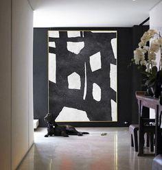 Abstract Painting Large Canvas Art, Handmade Black White Geometric Art, Acrylic Minimalist Painting. - Celine Ziang Art