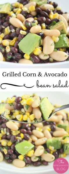 This salad is super refreshing and healthy! My family loves it!   The Refreshanista #avocado #salad #recipe Avocado Recipes, Healthy Salad Recipes, Raw Food Recipes, Veggie Recipes, Vegetarian Recipes, Cooking Recipes, Healthy Dinners, Avocado Bean Salad, Salad Dressing Recipes