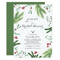 Christmas Bridal Shower Invitation - wedding invitations cards custom invitation card design marriage party