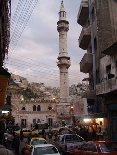 The bustling downtown area of Amman