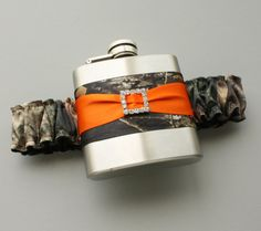 Camouflage FLASK GARTER  Camo & Orange  Or by MoonshineBelle, $40.00