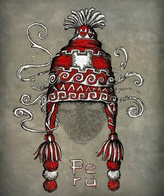 Chullo. Looch.  Artwork by José Luis Príncipe Mayan Symbols, Viking Symbols, Egyptian Symbols, Viking Runes, Ancient Symbols, Tattoo Inca, Peru Tattoo, Wiccan Tattoos, Celtic Tattoos