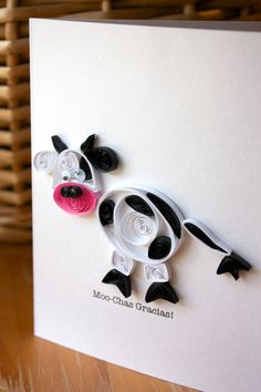 Quilled Cow Thank You Card