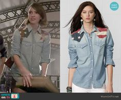 Malia's chambray flag shirt on Teen Wolf.  Outfit Details: http://wornontv.net/50438/ #TeenWolf