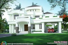 Flat Roof House Designs, House Roof Design, House Outside Design, Modern Exterior House Designs, Village House Design, Kerala House Design, Bungalow House Design, Facade House, House Facades
