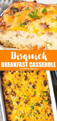 This easy cheesy Bisquick Breakfast Casserole is loaded with sausage, egg, potatoes, and peppers. Famished folks, this feast has your name on it! Breakfast Casserole Bisquick, Breakfast Bake, Sausage Breakfast, Breakfast Dishes, Breakfast Recipes, Potato And Egg Breakfast, Nutritious Breakfast, Breakfast Smoothies, Breakfast Ideas