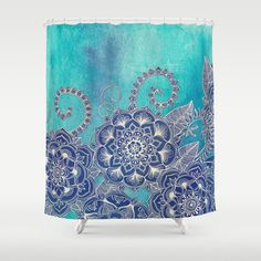 Mermaid's Garden - Navy & Teal Floral on Watercolor Shower Curtain