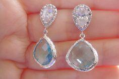 SALE Sterling Silver Clear Crystal Zirconium Bridal Blue Earrings. $25.00, via Etsy.
