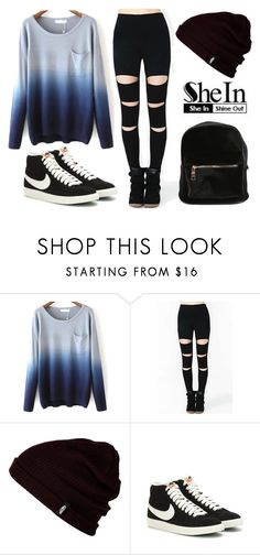 """shein"" by aifosfromvenus ❤ liked on Polyvore featuring Vans and NIKE"