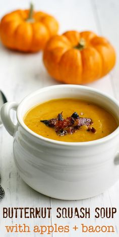A creamy and comforting version of butternut squash apple soup made with bacon. This grain free, dairy free soup is just right for autumn! Soup Recipes, Cooking Recipes, Free Recipes, Slow Cooking, Apple Recipes, Yummy Recipes, Keto Recipes, Vegetarian Recipes, Recipies