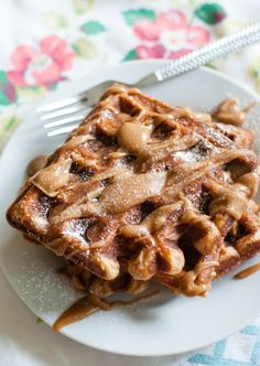 cinnamon sugar waffles with cinnamon peanut butter maple drizzle  from bakeat350.blogspot.com