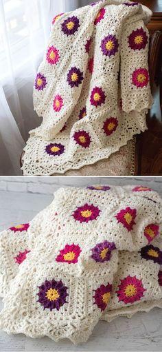 Sunburst Granny Squares Crochet Free Pattern - Pattern Center Granny Square Pattern Free, Crochet Granny Square Afghan, Crochet Square Patterns, Crochet Squares, Crochet Blanket Patterns, Baby Blanket Crochet, Crochet Designs, Granny Squares, Free Pattern
