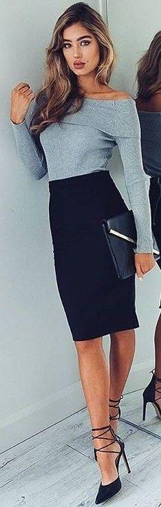 #fall #executive #peonies #outfits | Grey Top + Black Pencil Skirt