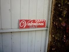 """Happy Valentines Day- Distressed Hand Painted 18"""" x 5 1/2"""" Wooden Sign- Red Pink Grey. $30.00, via Etsy."""