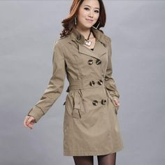Ladies Slim Double Breasted Trench Coats