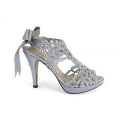12590-013D sandalia de vestir, de fantasía en color plata - zapato de fiesta de la marca española Angel Alarcon