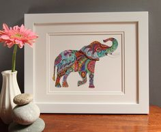 Colorful Elephant painting Elephant art Elephant home decor Elephant Home Decor, Elephant Art, Handmade Home Decor, Handmade Gifts, Unique Gifts, Colorful Elephant, Barn Wood Frames, Watercolor And Ink, Fine Art Paper