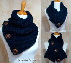 Ganchillo bufanda bufanda de botón 3 capucha de la
