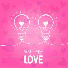 Bulb Love  #GraphicRiver         illustration of two light bulbs symbol of love