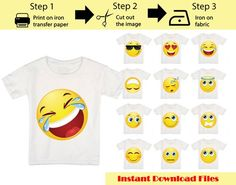 13 Pack Printable Emoji iron on transfers / Emoji iron on for shirts / Emoji Birthday / Party shirt Emoji Birthday Shirt, Emoji Shirt, Birthday Shirts, Iron On Transfer, Transfer Paper, Emoji Coloring Pages, Blush On Cheeks, Emoji Faces, Party Shirts