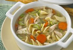 Chicken Noodle Soup (or Chicken & Rice): Chicken Broth, Chicken, Carrot, Celery, Peas, Onion, Garlic, Parsley, Thyme, Dill, S&P, Pasta OR Rice