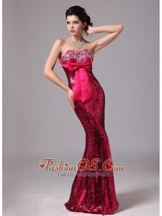Paillette Over Skirt Red Bowknot Sweetheart Mermaid Stylish Celebrity Prom Gowns For 2013 Custom Made In Normal Alabama  http://www.fashionos.com  http://www.facebook.com/fashionos.us  I can find no words that is suitable enough for me to describe my feeling of this dress. The dress is so sassy and stunning that I am sure you will be eye-catching at your party.