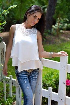 White lace too by Dex and Amethyst jeans.