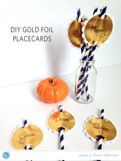 Silhouette America Blog | Thanksgiving Placecards #SilhouetteDesignTeam #GoldFoil