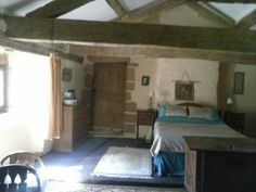Beautiful beams in master bedroom