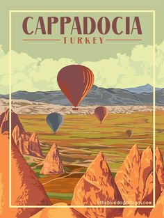 © 2021 Little Blue Dog Designs Cappadocia Turkey, Istanbul Turkey, Capri Italy, Turkey Travel, Blue Dog, Vintage Travel Posters, Colour Schemes, Dog Design, Italy Travel
