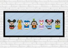 Mickey Mouse, Pluto, Donald Duck, Goofy, Daisy Duck, Minnie Mouse & Pete [cross-stitch] (Crafts by CloudsFactory @Etsy) #Disney