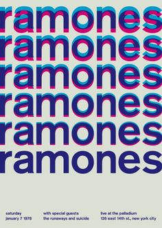 The Ramones at the Palladium, New York City Support from the Runaways and Suicide. Reimagined concert poster by designer Mike Joyce for his Swissted project, fusing rock music & swiss modernist design. Gig Poster, Punk Poster, Typography Poster, Concert Posters, Typography Design, Poster Prints, Event Posters, Music Posters, Word Poster